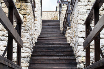 Wooden stairs at a castle.