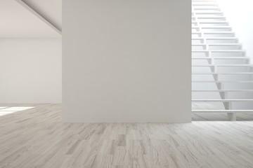 White empty room with stair. Scandinavian interior design. 3D illustration
