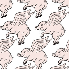 Vector pattern with hand drawn illustration of flying pig. Tattoo artwork . Template for card, poster, banner, print for t- shirt.