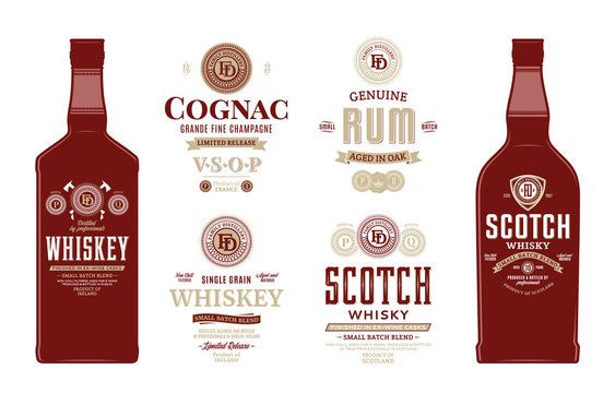Alcoholic drinks labels and bottle mockup templates. Whiskey, scotch whisky, cognac and rum labels. Distilling business branding and identity design elements.