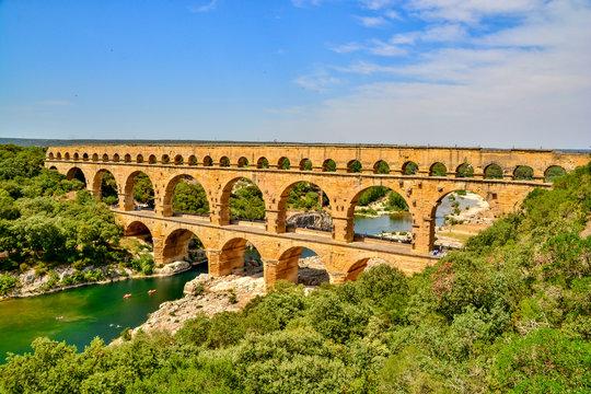 Pont du Gard in summer heat
