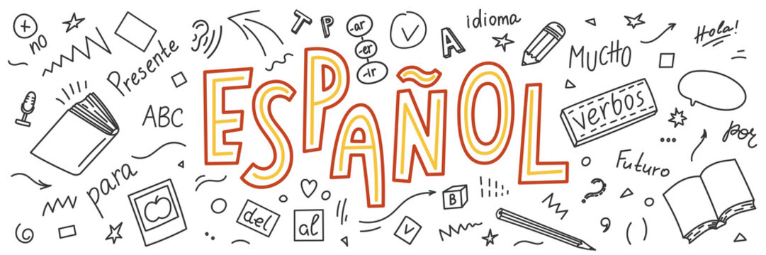 "Espanol. Translation ""Spanish"". Language hand drawn doodles and lettering."