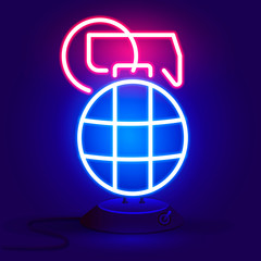 Grenade is red and blue glowing neon icon.