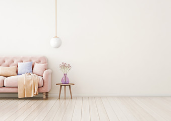 Living room interior wall mock up with pink tufted sofa, multi-colored pastel pillows, plaid, pendant lamp and flowers in vase on neutral empty warm white background.Free space on right. 3D rendering