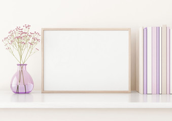 Home interior poster mock up with horizontal frame on shelf, flowers in vase and books on warm white wall background. 3D rendering.