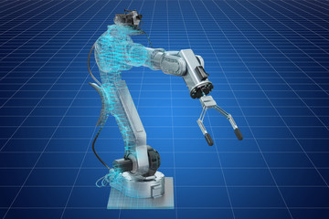 Visualization 3d cad model of robotic arm, blueprint. 3D rendering