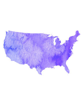 Watercolor United States Map. USA Painted in Watercolors