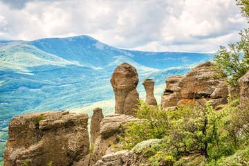 Valley of Ghosts on Demerdji mountain, fancy landscape in summer, Crimea