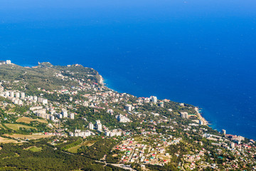 Aerial panoramic view of the seaside city, Crimea