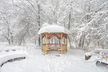 Snowy summerhouse in winter, Moscow, Russia