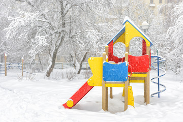 Snowy playground in winter, Moscow, Russia