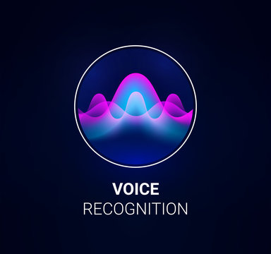 Personal assistant voice recognition concept. Artificial intelligence technologies. Sound wave logo concept for voice recognition application, website background or home smart system assistant.Vector