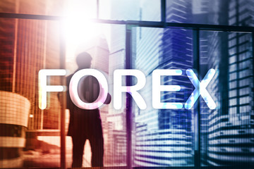Forex trading and investment concept on double exposure blurred background.