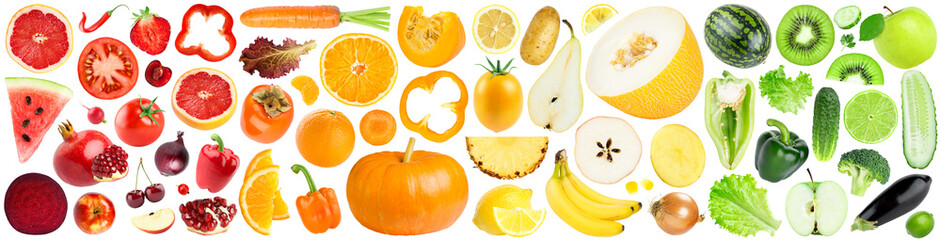 Keuken foto achterwand Verse groenten Collection of color fruits and vegetables on white