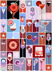 Canvas Prints Abstract Art Cocktails pop art vector collage