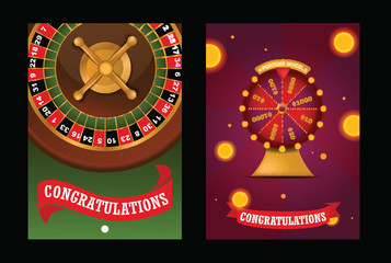 Fortune wheel vector spin game casino roulette with arrow congratulation for lucky winner backdrop fortunate wheeled lottery bet set illustration background