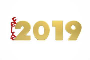 New Year's Happy 2019 - Golden Figures and Red Letters Collapsing - 3D Render Illustration Isolated on White Background - Words in Spanish