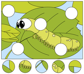 Funny caterpillar wants to eat a fresh leaf. Complete the puzzle and find the missing parts of the picture. Game for kids