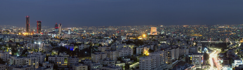 Panoramic view of Amman's famous landmarks at night