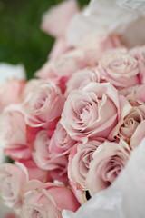 Closeup fresh pink rose flowers. Wedding ceremony bouquet. Florist decoration