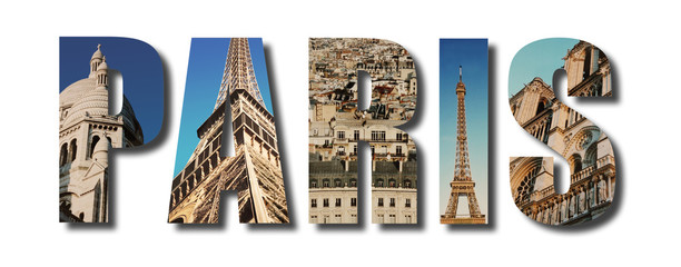 Paris France collage on white