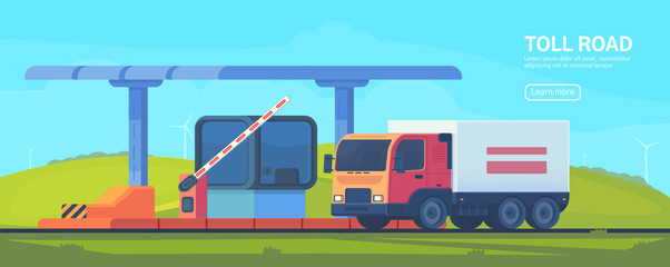 Checkpoint on the toll road. Booth with boom barrier Web banner. Vector flat illustration.