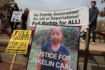 A picture of Jakelin, a 7-year-old girl who died in U.S. custody after crossing illegally from Mexico to the U.S, is seen during a protest to demand justice for her, in El Paso