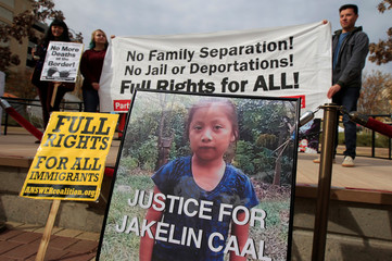 A picture of Jakelin Caal, a 7-year-old girl who died in U.S. custody after crossing illegally from Mexico to the U.S, is seen during a protest to demand justice for her, in El Paso