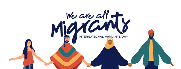 Wall Mural - Migrants Day banner of diverse people group