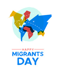 Migrant Day world map card for global migration concept