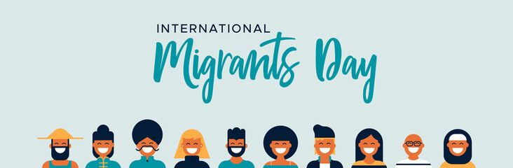 Wall Mural - Migrants Day banner of diverse culture people team