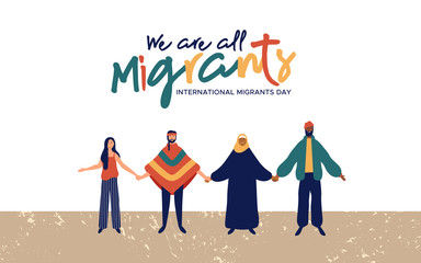 Wall Mural - Migrants Day diverse people group concept
