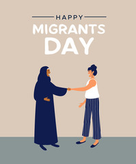 Migrants Day card of mix cultures friends together