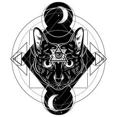 Vector hand drawn ilustration of cat. All seeing eye pyramid symbol. Artwork with portrait of mystical elegant cat.  Template for card, poster, banner, print for t-shirt.