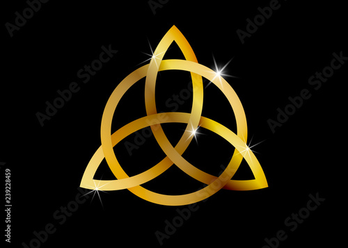 Triquetra, Gold Trinity Knot, Wiccan symbol for protection