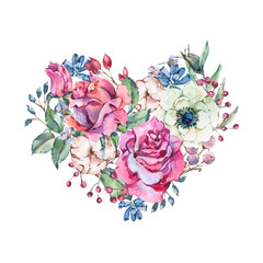 Decorative vintage watercolor floral heart of pink roses