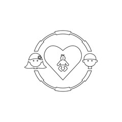 woman with man in a circle child icon. Element of cyber security for mobile concept and web apps icon. Thin line icon for website design and development, app development