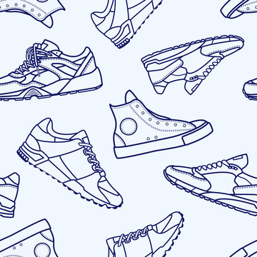 Seamless Pattern with Sneaker Shoe Flat Line Stroke