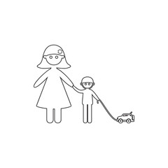 mother with her son on a walk icon. Element of Family for mobile concept and web apps icon. Thin line icon for website design and development, app development
