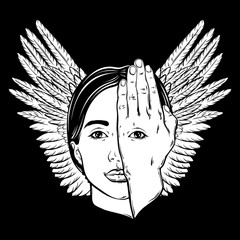Vector hand drawn illustration of woman face with eye on her hand and wings. Surreal artwork. Template for card, poster, banner, print for t-shirt.