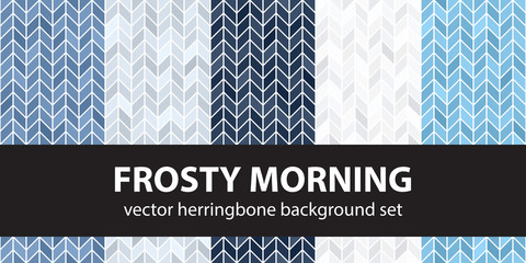 Herringbone pattern set Frosty Morning. Vector seamless parquet backgrounds