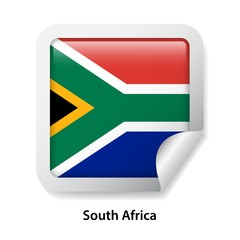 Flag of South Africa. Round glossy badge sticker