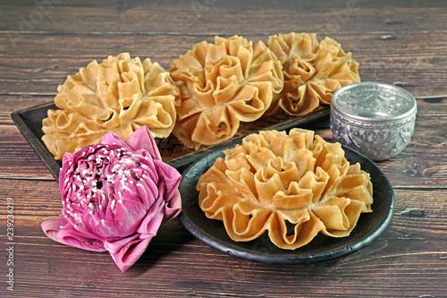 Thai Food Thai Snacks Crispy Lotus Blossom Cookie Or Knanom Dok