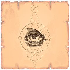 Hand drawn sketch Eye of Providence. All seeing eye. Masonic symbol. Alchemy, religion, spirituality, occultism. Vector illustration on the background of old paper.