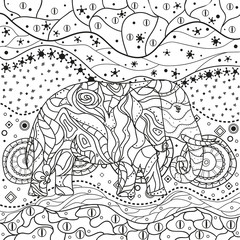 Abstract elephant on mandala. Hand drawn animal with patterns on isolation background. Design for spiritual relaxation for adults. Black and white illustration for coloring