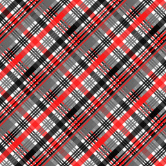 Seamless tartan plaid pattern in stripes of red, black and white. Checkered twill fabric texture. Vector swatch for digital textile printing.