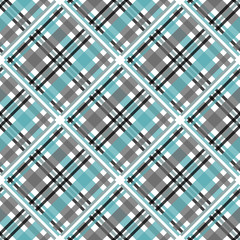 Seamless tartan plaid pattern. Checkered fabric texture print in stripes of bright blue, teal black, teal blue and white. eps10