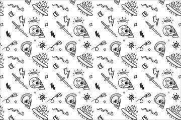 Black and white vector old school tattoos pattern on white background, doodle illustration