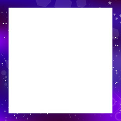 Vector galaxy square photo frame on white background with copy space.