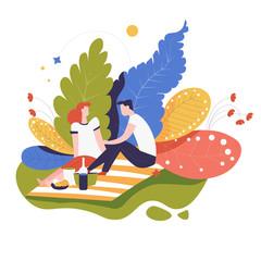 Fotobehang Kasteel Picnic or date in park couple food on blanket romantic event
